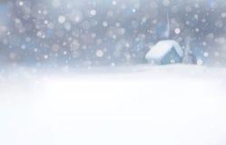 Vector de la escena del invierno con el fondo de la casa y de las nevadas Foto de archivo libre de regalías