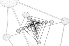 Vector de la estructura de la molécula de la DNA del tetraedro Foto de archivo libre de regalías