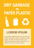 Vector de la etiqueta engomada de la basura, botellas plásticas, la bolsa de plástico, vector de la basura, papelera de reciclaje Fotografía de archivo
