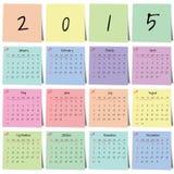 Vector de la etiqueta engomada 2015 del calendario Fotografía de archivo libre de regalías