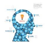 Vector de la forma de la cabeza del hombre de la bombilla de Infographic Imágenes de archivo libres de regalías