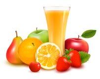 Vector de la fruta fresca y del jugo Foto de archivo libre de regalías