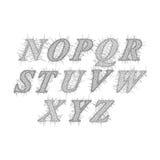 Vector de la fuente inclinada retra y alfabeto en el estilo Voronoi ilustración del vector