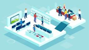 Vector de la gente que hace compras en un departamento de los productos electrónicos de consumo de la alameda ilustración del vector