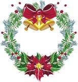 Vector de la guirnalda de la Navidad con el arco y la poinsetia rojos Fotos de archivo