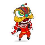 Vector de la historieta de la danza de león, diseño de carácter, Año Nuevo chino ilustración del vector