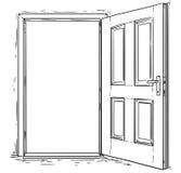 Vector de la historieta de la puerta de madera abierta imagen de archivo libre de regalías
