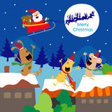 Vector de la historieta de Santa Gift Dogs Fun Enjoy del texto de la Feliz Navidad Fotos de archivo libres de regalías