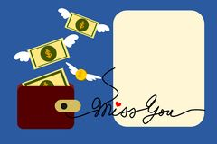 Vector de la historieta del ejemplo del dinero del vuelo Fotos de archivo libres de regalías