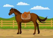 Vector de la historieta del rancho del caballo ilustración del vector