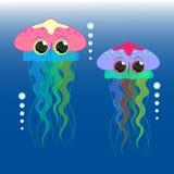 Vector de la historieta de las medusas Fotos de archivo libres de regalías