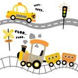 Vector de la historieta de los transportes con, taxi y tren ilustración del vector