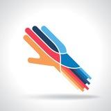 Vector de la idea del trabajo en equipo con las manos Foto de archivo libre de regalías