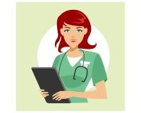 Vector de la imagen del logotipo de la mujer del doctor de la enfermera Fotografía de archivo
