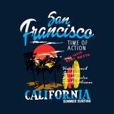 Vector de la impresión de la camiseta de la puesta del sol de California San Francisco ilustración del vector