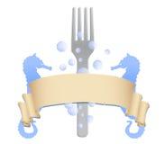 Vector de la insignia del restaurante de los mariscos Fotografía de archivo libre de regalías