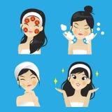 Vector de la máscara facial de la muchacha con la máscara de la rebanada del tomate ilustración del vector