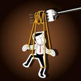 Vector de la marioneta del hombre de negocios en los tallarines controlados por la bifurcación Fotos de archivo libres de regalías