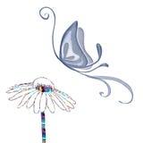Vector de la mariposa y de la flor Fotografía de archivo