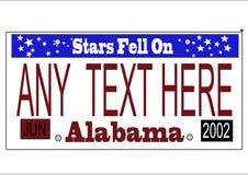 Vector de la matrícula del estado de Alabama Imagen de archivo libre de regalías
