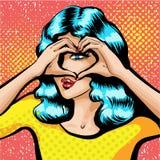Vector de la muchacha hermosa que mira a través de la muestra del corazón hecha de fingeres Vector coloreado Imagen de archivo