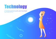 Vector de la mujer de negocios, diseño del carácter del márketing y de la tecnología digital, alquiler y trabajadores planos de l stock de ilustración
