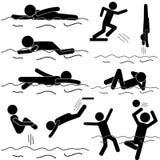 Vector de la natación del hombre del palillo Fotografía de archivo