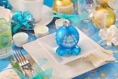 Vector de la Navidad con la decoración azul de la chuchería Fotografía de archivo libre de regalías
