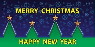 Vector de la nieve de la noche de la Feliz Navidad y de la Feliz Año Nuevo Fotografía de archivo