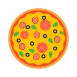 Vector de la opinión superior de la pizza Foto de archivo libre de regalías