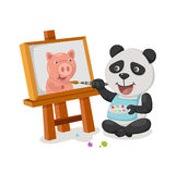 Vector de la pintura de la panda Fotografía de archivo
