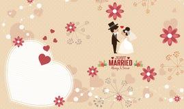 Vector de la plantilla de la tarjeta de la invitación de la boda Imagen de archivo