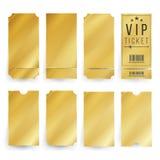 Vector de la plantilla del boleto del Vip Boletos y espacio en blanco de oro vacíos de las cupones Ilustración aislada libre illustration