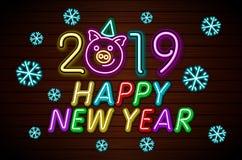 Vector de la plantilla del diseño de la Feliz Año Nuevo 2019 Tarjeta de felicitación del cerdo, bandera ligera, estilo de neón Il ilustración del vector