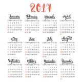Vector de la plantilla del diseño del calendario 2017 en el fondo blanco El primer día de la semana es domingo Sistema de 12 Fotografía de archivo libre de regalías
