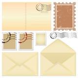Vector de la postal y de los sellos