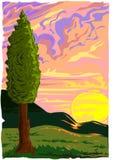 Vector de la puesta del sol de Toscana libre illustration