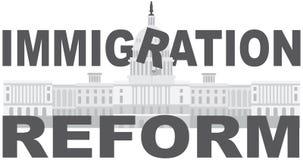 Vector de la reforma de inmigración del capitolio del Washington DC ilustración del vector