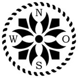 Vector de la rosa de compás con simbolismo céltico y la descripción del este alemana en un fondo blanco aislado Ilustración del Vector