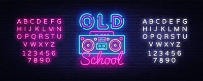 Vector de la señal de neón de la escuela vieja Señal de neón retra de la plantilla del diseño de la música, estilo retro 80-90s,  stock de ilustración