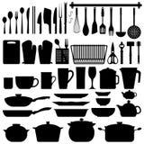 Vector de la silueta de los utensilios de la cocina Foto de archivo libre de regalías