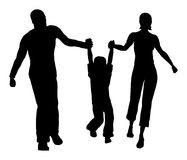Vector de la silueta del hijo del asimiento de la familia