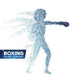 Vector de la silueta del jugador del boxeo Puntos de semitono Atleta dinámico In Action del boxeo Partículas punteadas que vuelan Imágenes de archivo libres de regalías