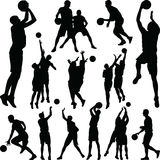 Vector de la silueta del jugador de básquet Imagen de archivo