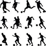 Vector de la silueta del jugador de fútbol Fotografía de archivo libre de regalías