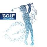 Vector de la silueta del jugador de golf Puntos del tono medio del Grunge Atleta In Action del golf Partículas flotantes Bandera  Fotos de archivo libres de regalías