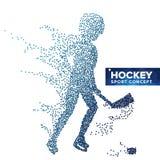 Vector de la silueta del jugador de hockey Puntos del tono medio del Grunge Atleta dinámico In Action del hockey sobre hielo Band Foto de archivo