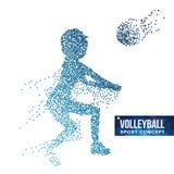 Vector de la silueta del jugador de voleibol Puntos del tono medio del Grunge Atleta dinámico In Action del voleibol Partículas p Fotografía de archivo