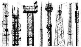Vector de la silueta de la torre de radio de la TV Sistema aislado del repetidor de radio en el fondo blanco fotografía de archivo