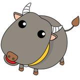 Vector de la sonrisa del búfalo en BG blanca Imagenes de archivo